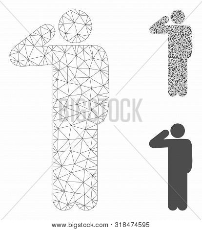 Mesh Salute Pose Model With Triangle Mosaic Icon. Wire Frame Polygonal Mesh Of Salute Pose. Vector M