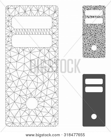 Mesh Server Mainframe Model With Triangle Mosaic Icon. Wire Frame Polygonal Mesh Of Server Mainframe