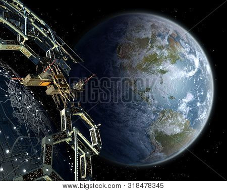 Alien Mega Structure In Near Earth Orbit, With A Honeycomb Geodesic Structure Surrounding A Central