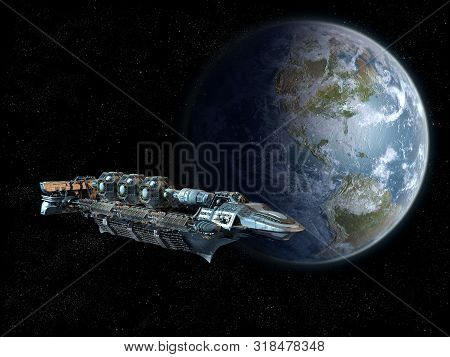 poster of Detailed spaceship in near Earth orbit for futuristic space travel, video games, or science fiction backgrounds.