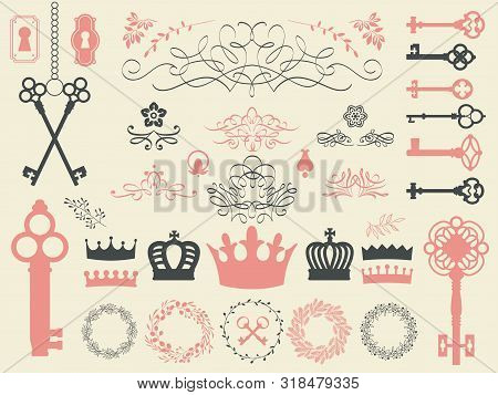 Vector Illustration With Design Elements For Decoration. Big Silhouettes Set Of Keys, Wreaths, Crown