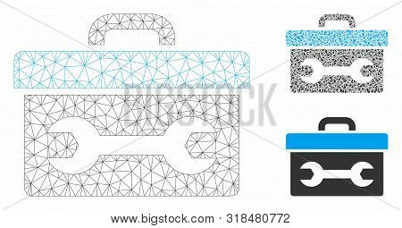 Mesh Toolbox Model With Triangle Mosaic Icon. Wire Frame Triangular Mesh Of Toolbox. Vector Mosaic O