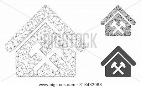 Mesh Workshop Model With Triangle Mosaic Icon. Wire Carcass Polygonal Network Of Workshop. Vector Mo
