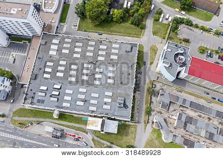 Aerial Top View Of Urban Industrial Area. Drone Photography