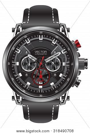 Realistic Clock Watch Sport Chronograph Black Silver Red Steel For Men Luxury On White Background Ob