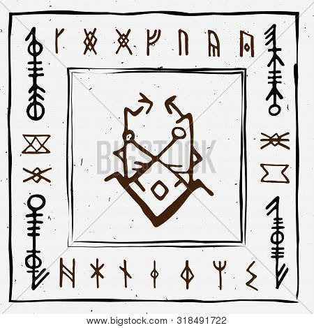 Futhark Norse Islandic And Viking Runes Set. Magic Hand Draw Symbols As Scripted Talismans. Vector S