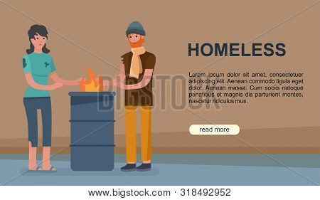 Homeless Poor Couple Woman And Man Begging Cartoon Vector Illustration Banner. Concept Of Social Pro