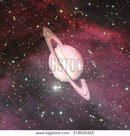 Saturn. Incredibly Beautiful Planets, Galaxies, Dark And Cold Beauty Of Endless Universe. Elements O