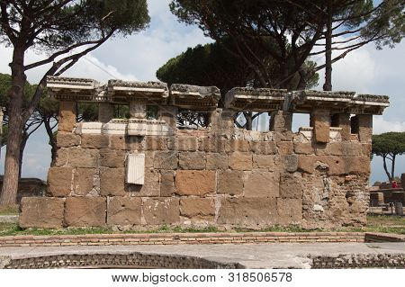 Italy, Ostia - April 16 2017: The View Of Ruins On Piazzale Delle Corporazioni In The Ancient Roman