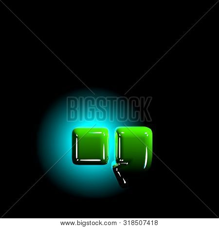 Shine Green Plastic Design Font - Period (full Stop) And Comma Isolated On Black Background, 3d Illu