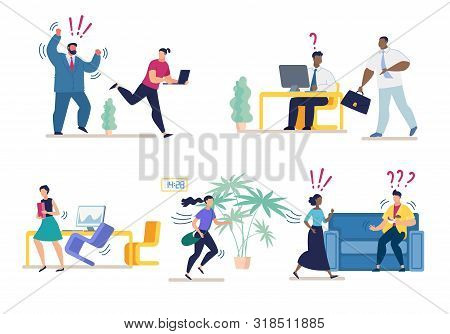 Set Bright Banner Misunderstanding At Work Flat. Modern And Comfortable Space. Aggressive Boss Drive
