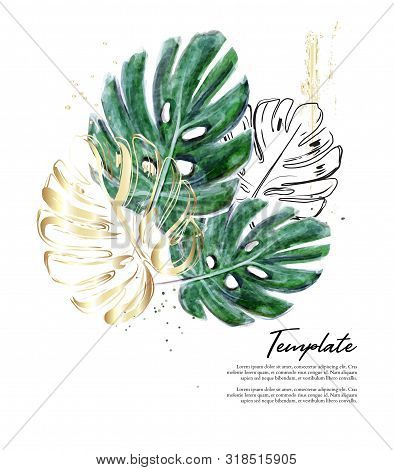 Monstera Hand-drawn Watercolor Illustration With Gold Foil Sparkles. Modern Split-leaf Philodendron