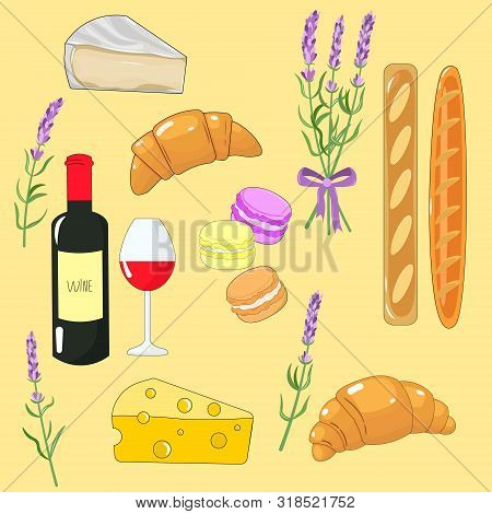 Vector Graphics. Adorable, Bright, Cartoon Set With French Food. Croissants, Wine, Baguettes, Macaro
