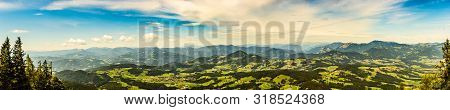 Panorama Andscape View During Sunset In Summer From Graz Schockl Mountain In Styria, Austria. Famous