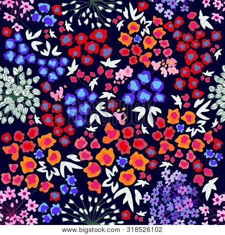 Trendy Fabric Pattern With Miniature Wildflowers. Botanical Seamless Print With Different  Elements.