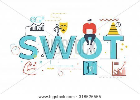 Swot(strengths, Weaknesses, Opportunities And Threats) Word Lettering Illustration Word Lettering Il