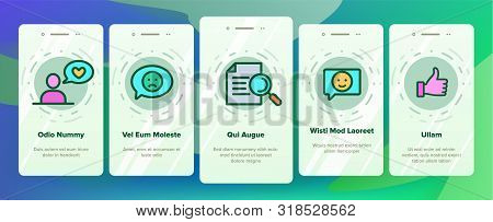 Reviews Onboarding Mobile App Page Screen Vector. Reviews, Feedback And User Experience Of Client Li