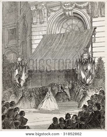 Empress Eugenie at Legion of Honour prize giving ceremony. Created by Bertall, published on L'Illustration, Journal Universel, Paris, 1863 poster