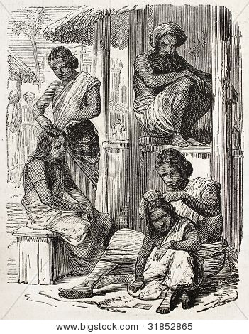 Indian women old illustration. Created by Godefroy-Durand, published on L'Illustration, Journal Universel, Paris, 1863 poster