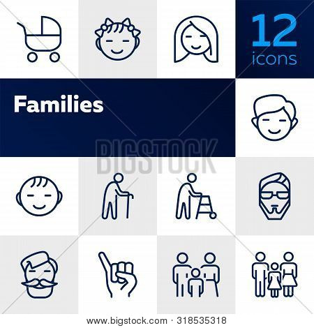Families Line Icon Set. Set Of Line Icons On White Background. Family Concept. Girl, Stroller, Old M