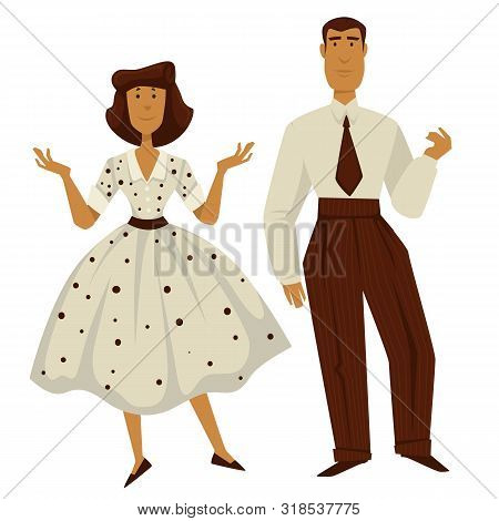 Man And Woman In Vintage 1950s Style Clothes, Isolated Characters