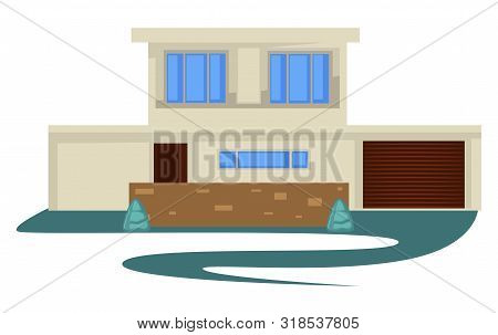 1950s Style Vintage Building Or House With Garage And Driveway