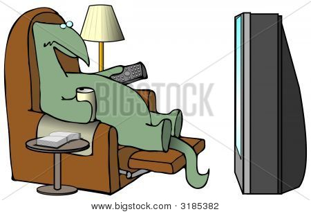 This illustration depicts a dinosaur sitting in a recliner watching television. poster
