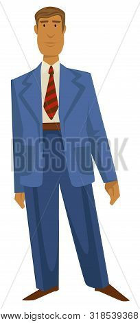 Man In 1940s Fashion Style, Vintage Oversize Suit And Striped Tie