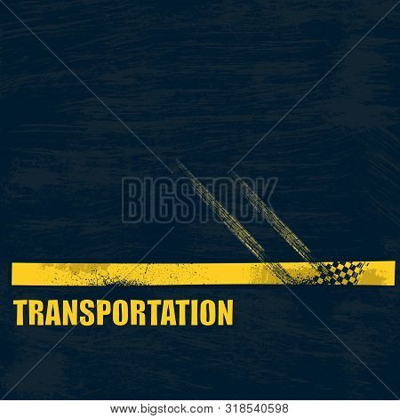 Dark Blue Grunge Road Background With Yellow Line And Tire Tracks