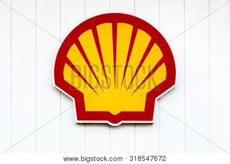 Macon, France - June 22, 2019: Shell Logo On A Gas Station. Shell Is An Anglo-dutch Multinational Oi