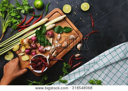 Vegetables Healthy Food Herbs And Spices On A Cutting Board. Raw Materials Of Cooking Preparation To