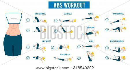 Abs Workout With Kinds Of Abdominal Training Flat Vector Illustration Isolated.