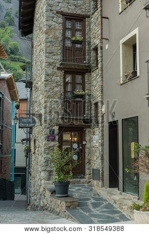 Andorra La Vella, Andorra : 2019 August 22 : Hostels In Andorra La Vella, Capital, Centro Historic,