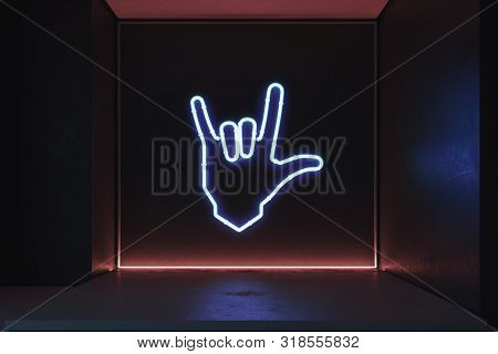 Hand In Rock And Roll Sign Made From Neon Lamps In Dark Room. 3d Rendering.