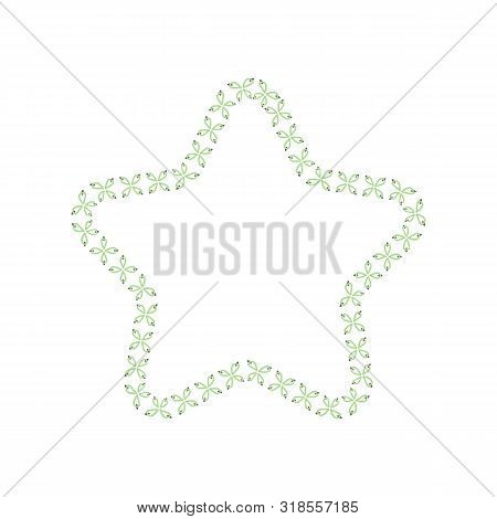 Star Shaped Frame Of Sewing Seams And Stitches The Vector Illustration Isolated.