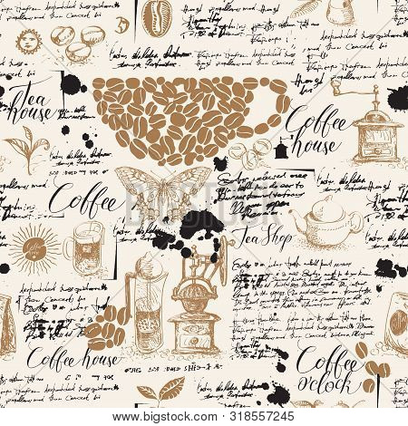 Vector Seamless Pattern On Tea And Coffee Theme In Retro Style. Various Coffee And Tea Sketches, Blo