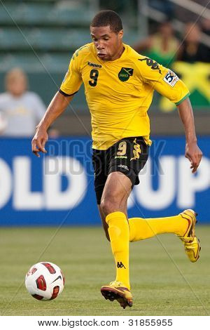 CARSON, CA. - JUNE 6: Jamaica F Ryan Johnson #9 during the 2011 CONCACAF Gold Cup group B game on June 6 2011 at the Home Depot Center in Carson, CA.