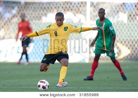 CARSON, CA. - JUNE 6: Jamaica plauer D Eric Vernan #8 in action during the 2011 CONCACAF Gold Cup group B game on June 6 2011 at the Home Depot Center in Carson, CA.