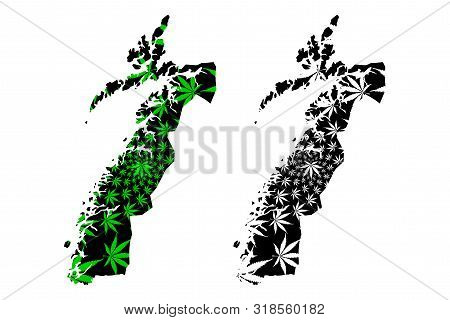 Nordland (administrative Divisions Of Norway, Kingdom Of Norway) Map Is Designed Cannabis Leaf Green