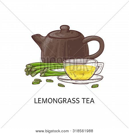 Lemongrass Yellow Tea Concept With Clay And Ceramic Teapot And Glass Cup.