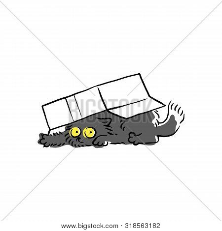 Cute Black Cat Under The Cardboard Box Sketch Vector Illustration Isolated.