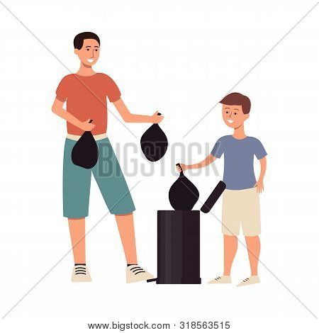 Man Ans Son Taking Out Garbage In Plastic Bags