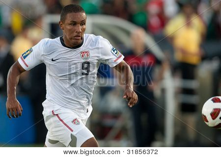 PASADENA, CA - MAY 25: United States F player Juan Agudelo #9 during the 2011 CONCACAF Gold Cup championship game on May 25, 2011 at a sold out Rose Bowl in Pasadena, CA