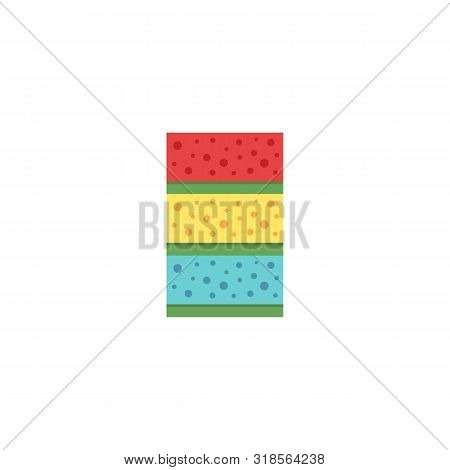 House Cleaning Material The Household Sponge Flat Vector Illustration Isolated.