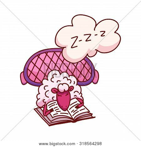 Cute Sleeping Sheep Vector Illustration. Poster About Sleep. The Concept Of Trying To Sleep, Countin