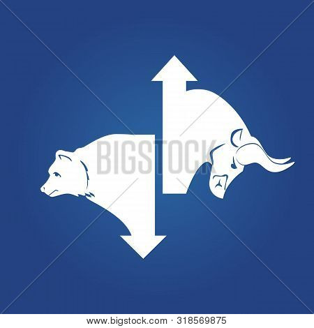 Bullish And Bearish Markets. Silhouette Of A Bull And A Bear In Front Of Trending Arrows In Between