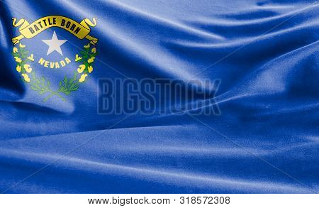Realistic Flag State Of Nevada On The Wavy Surface Of Fabric