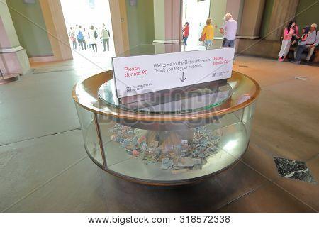 London England - June 3, 2019: Donation Box At British Museum London Uk
