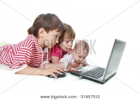 three kids with laptop over white
