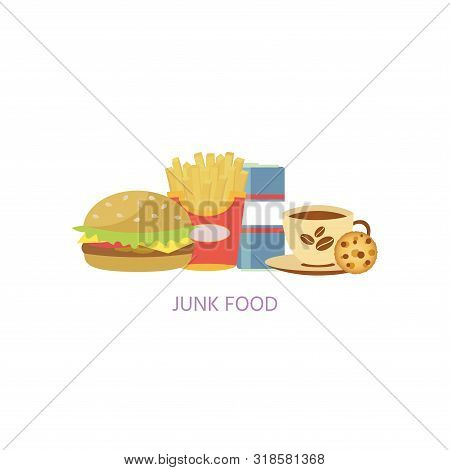 Diet. Healthy Eating Concept. Junk Food Icons Isolated On White Background. Daily Ration. Proteins,